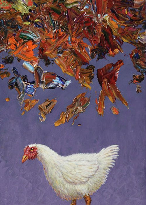 Chicken Little Greeting Card featuring the painting The Sky Is Falling by James W Johnson