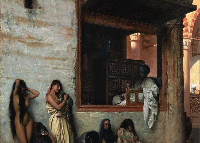 The Slave Market Greeting Card featuring the painting The Slave Market by Jean Leon Gerome