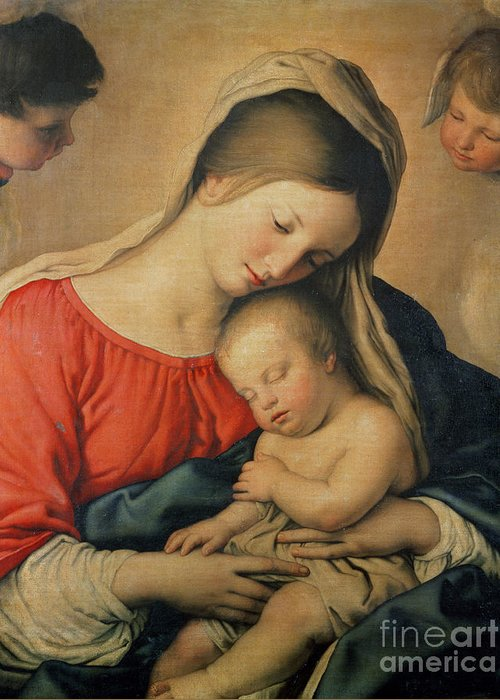 Mary Greeting Card featuring the painting The Sleeping Christ Child by Il Sassoferrato