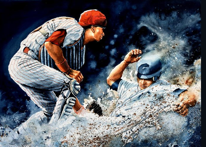 Sports Art Greeting Card featuring the painting The Slide by Hanne Lore Koehler