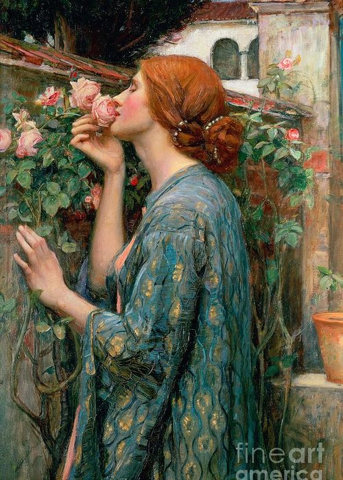 The Greeting Card featuring the painting The Soul Of The Rose by John William Waterhouse