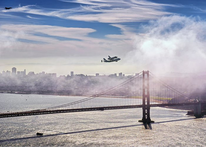 The Space Shuttle Endeavour Over Golden Gate Bridge Septembe Greeting Card featuring the photograph The Space Shuttle Endeavour Over Golden Gate Bridge 2012 by David Yu
