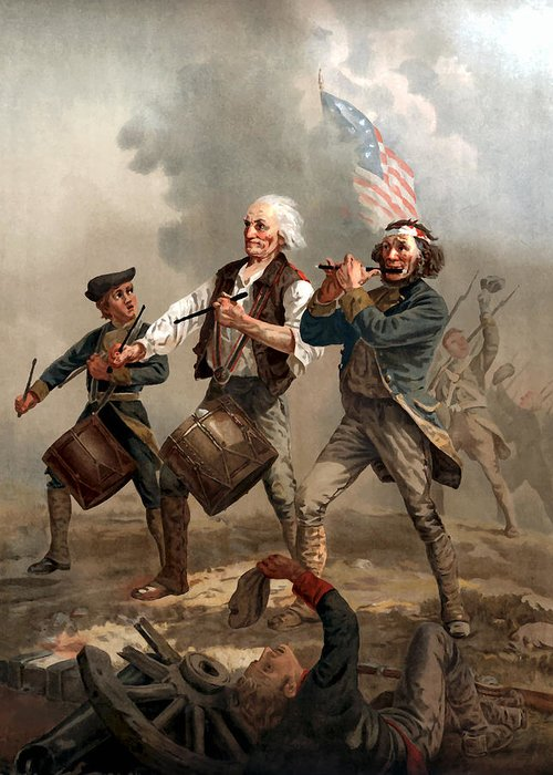 Yankee Doodle Greeting Card featuring the painting The Spirit Of '76 by War Is Hell Store