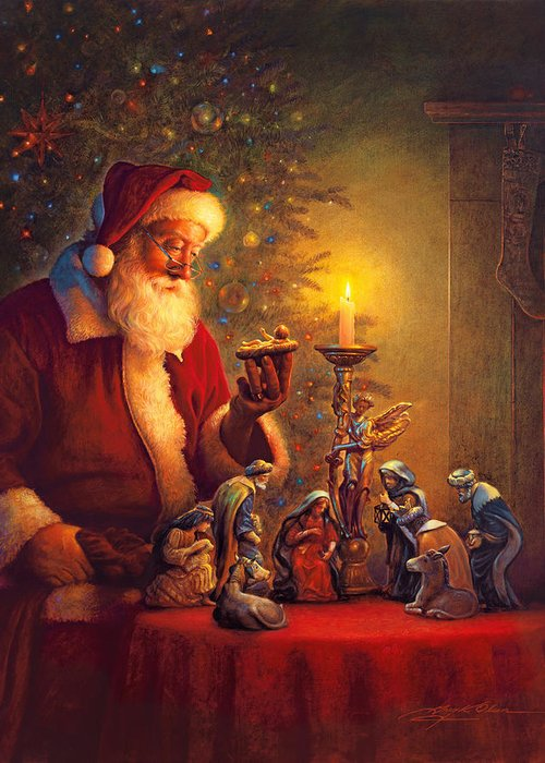 Santa Claus Greeting Card featuring the painting The Spirit Of Christmas by Greg Olsen