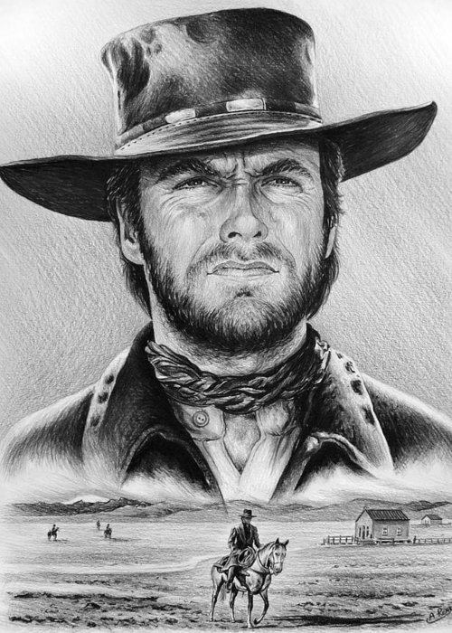 Clint Eastwood Greeting Card featuring the painting The Stranger Bw 2 Version by Andrew Read