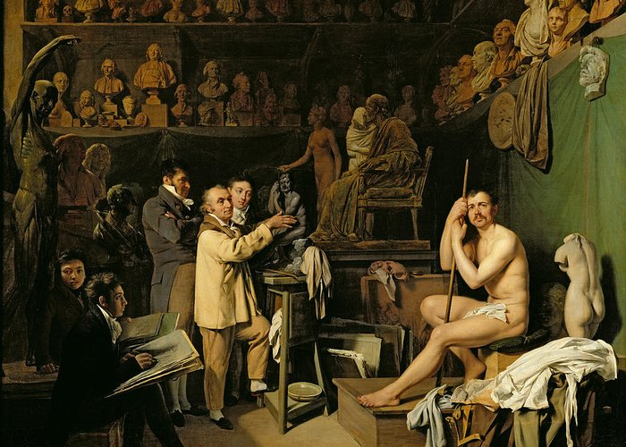 The Greeting Card featuring the painting The Studio Of Jean Antoine Houdon by Louis Leopold Boilly