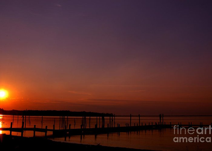 Clay Greeting Card featuring the photograph The Sun Sets Over The Water by Clayton Bruster
