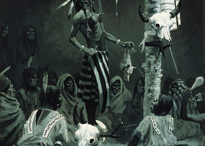 Mandan Initiation Ceremony (the Sundance) 1888 (oil On Board)the Okipa Ceremony In Which Young Mandan Warriors Were Suspended With Wooden Skewers Through The Skin Of Their Chests; Indian Greeting Card featuring the painting The Sundance by Frederic Remington
