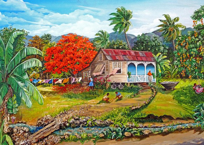 Tropical Scene Caribbean Scene Greeting Card featuring the painting The Sweet Life by Karin Dawn Kelshall- Best