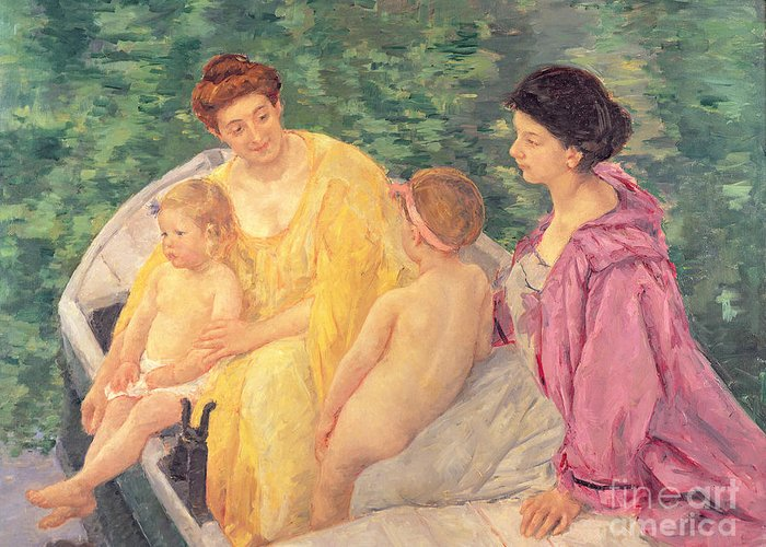 The Greeting Card featuring the painting The Swim Or Two Mothers And Their Children On A Boat by Mary Stevenson Cassatt