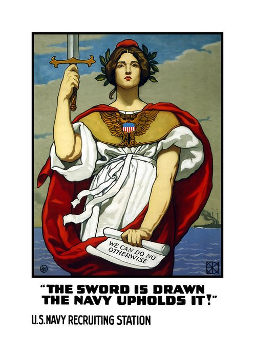 Navy Greeting Card featuring the painting The Sword Is Drawn - The Navy Upholds It by War Is Hell Store