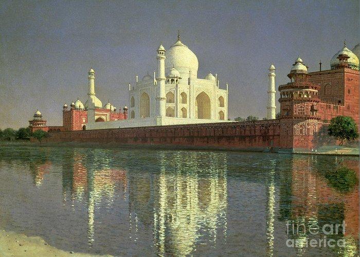 The Greeting Card featuring the painting The Taj Mahal by Vasili Vasilievich Vereshchagin