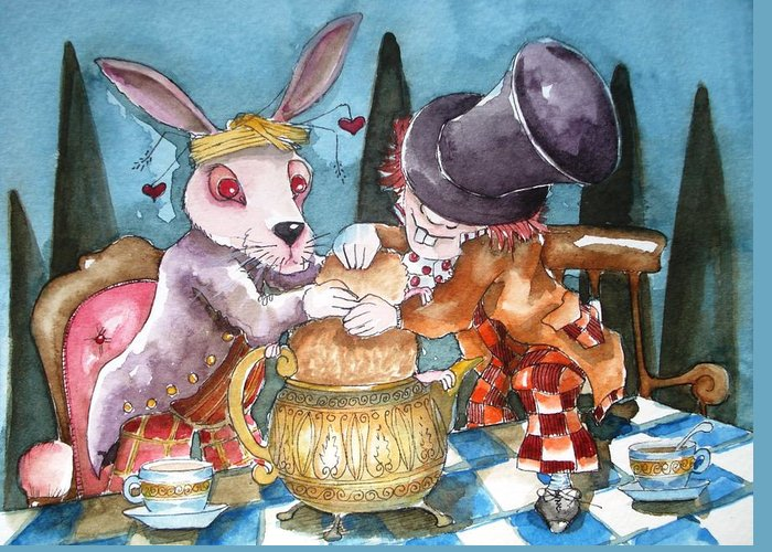 Alice In Wonderland Greeting Card featuring the painting The Tea Party by Lucia Stewart