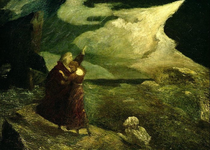 The Greeting Card featuring the photograph The Tempest by Albert Pinkham Ryder