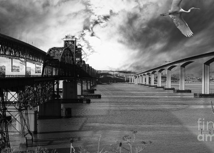 Black And White Greeting Card featuring the photograph The Three Benicia-martinez Bridges . A Journey Through Time . Black And White by Wingsdomain Art and Photography