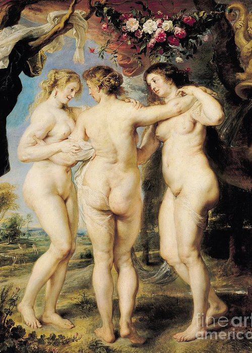 The Greeting Card featuring the painting The Three Graces by Peter Paul Rubens