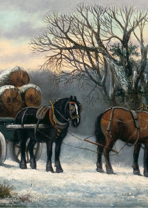 The Greeting Card featuring the painting The Timber Wagon In Winter by Anonymous