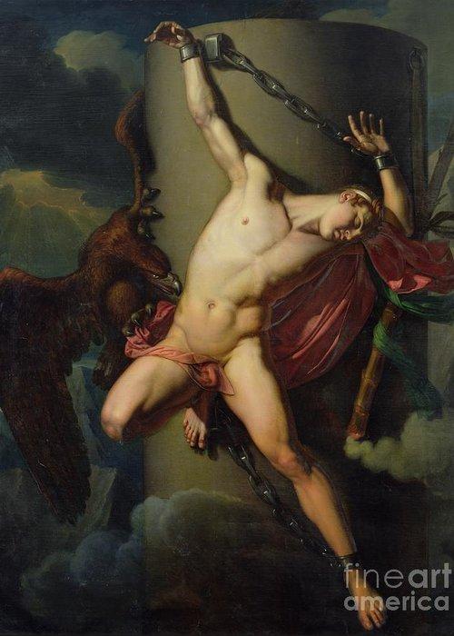 The Torture Of Prometheus Greeting Card featuring the painting The Torture Of Prometheus by Jean-Louis-Cesar Lair