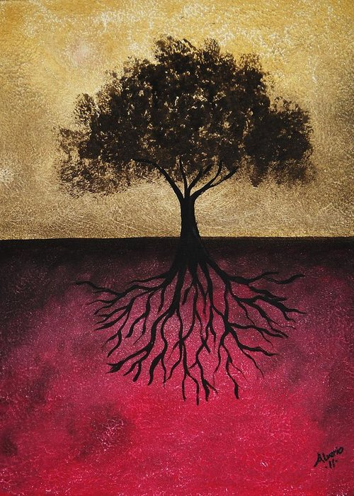 Black Greeting Card featuring the painting The Tree Of Life by Edwin Alverio