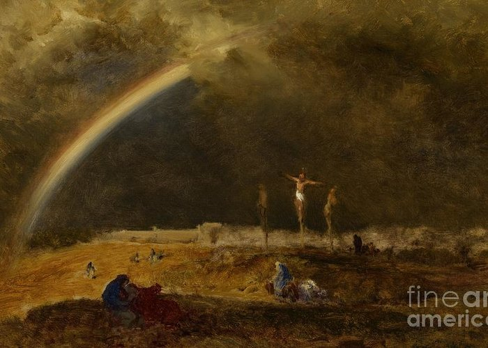 Christ Greeting Card featuring the painting The Triumph At Calvary by George Inness