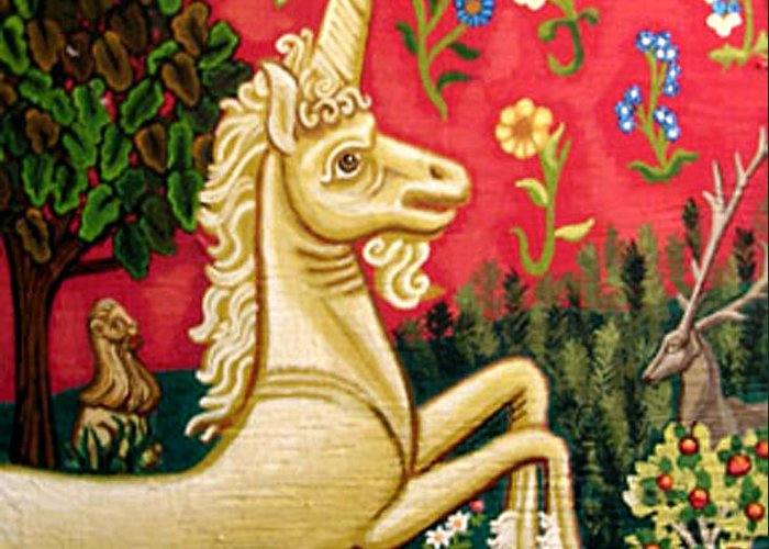 Unicorn Greeting Card featuring the painting The Unicorn by Genevieve Esson
