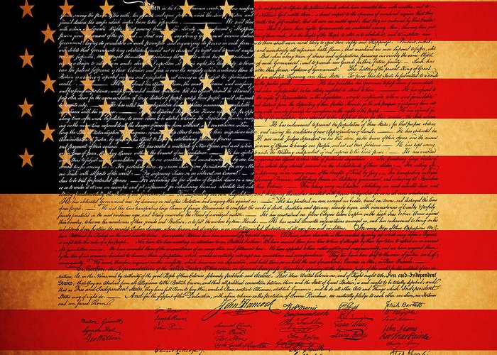 Usa Greeting Card featuring the photograph The United States Declaration Of Independence - American Flag - Square by Wingsdomain Art and Photography
