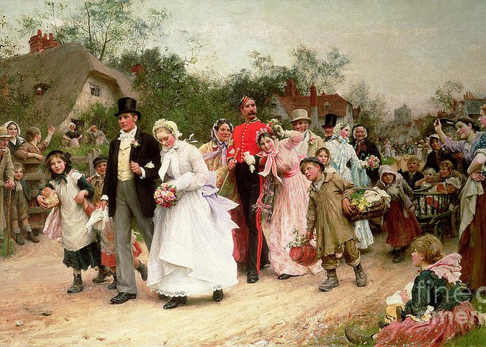 Portrait; Group Greeting Card featuring the painting The Village Wedding by Sir Samuel Luke Fildes