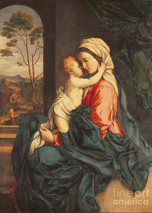 The Greeting Card featuring the painting The Virgin And Child Embracing by Giovanni Battista Salvi