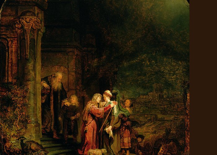 The Greeting Card featuring the painting The Visitation by Rembrandt Harmensz van Rijn
