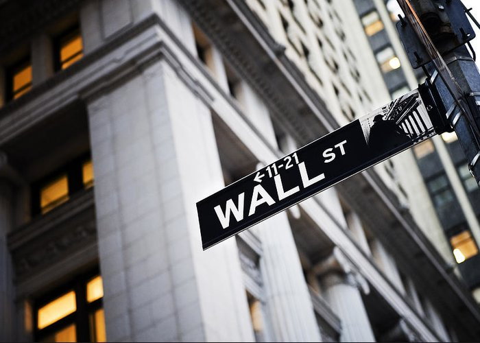 Outdoors Greeting Card featuring the photograph The Wall Street Street Sign by Justin Guariglia