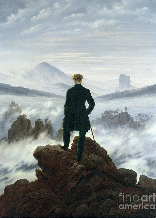 The Greeting Card featuring the painting The Wanderer Above The Sea Of Fog by Caspar David Friedrich