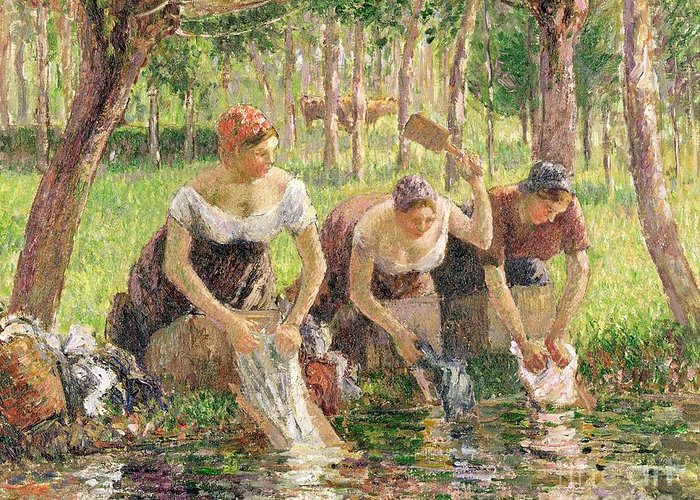 The Greeting Card featuring the painting The Washerwomen by Camille Pissarro