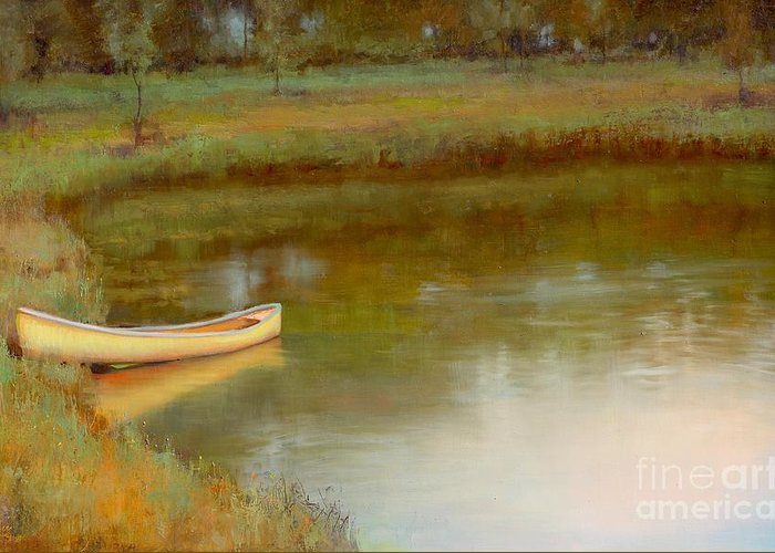 Landscape Greeting Card featuring the painting The Water's Edge by Lori McNee