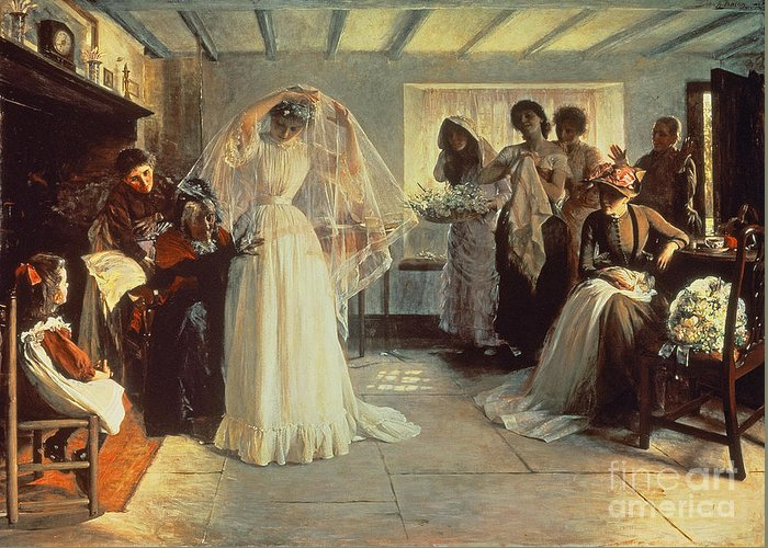 Wedding Morning Greeting Card featuring the painting The Wedding Morning by John Henry Frederick Bacon