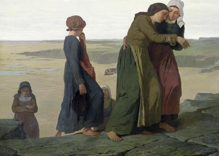 The Greeting Card featuring the painting The Widow by Evariste Vital Luminais
