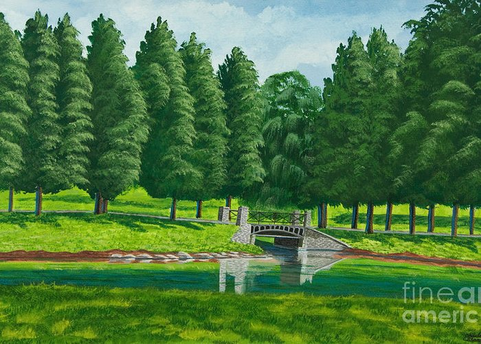 Colgate University Taylor Lake Greeting Card featuring the painting The Willow Path by Charlotte Blanchard