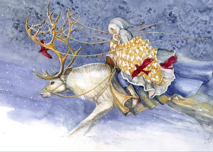 Winter Greeting Card featuring the painting The Winter Changeling by Janet Chui