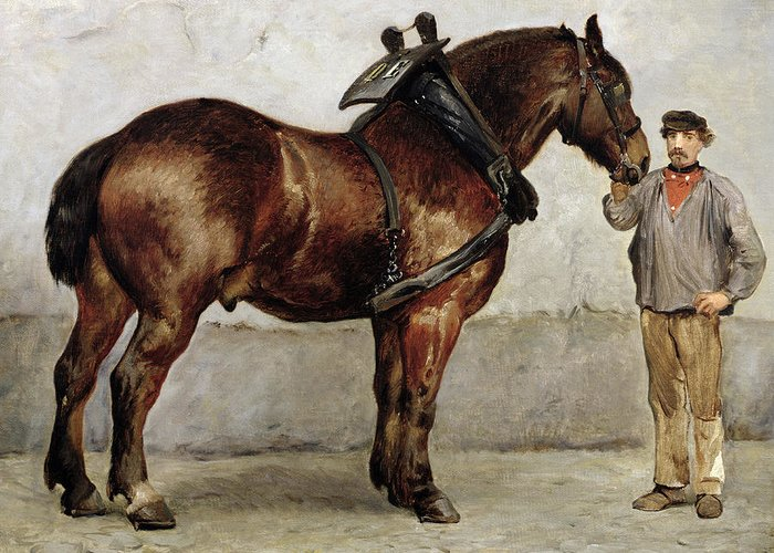 Horse Greeting Card featuring the painting The Work Horse by Otto Bache