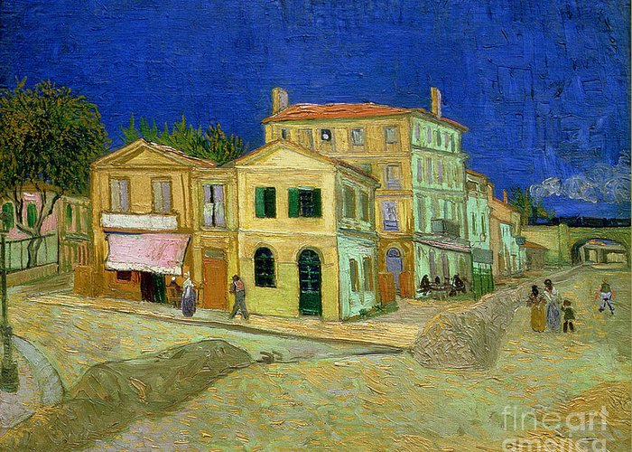 The Greeting Card featuring the painting The Yellow House by Vincent Van Gogh