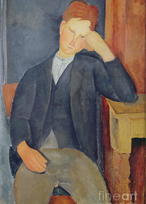 The Greeting Card featuring the painting The Young Apprentice by Amedeo Modigliani