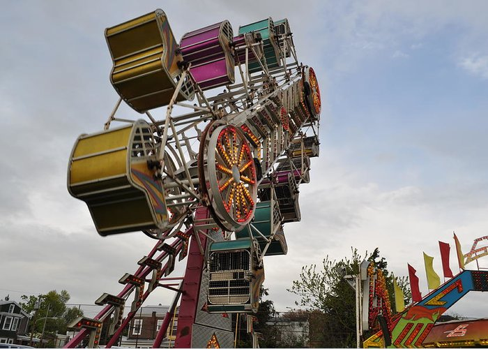 Carnival Greeting Card featuring the photograph The Zipper by Brynn Ditsche