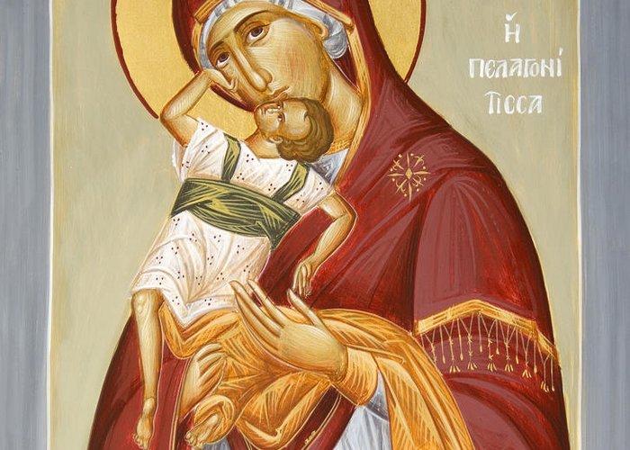 Theotokos Pelagonitisa Greeting Card featuring the painting Theotokos Pelagonitisa by Julia Bridget Hayes