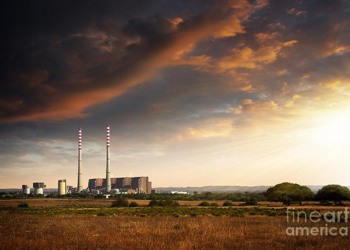 Building Greeting Card featuring the photograph Thermoelectrical Plant by Carlos Caetano