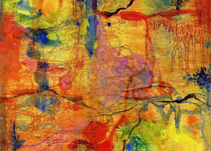 Film Greeting Card featuring the painting Thick Film Birefringence by Regina Valluzzi