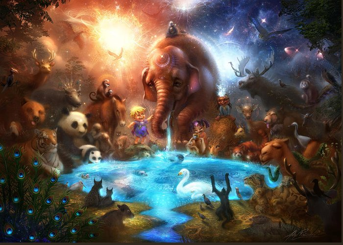 Animals Greeting Card featuring the digital art Thirst For Life by Alex Ruiz