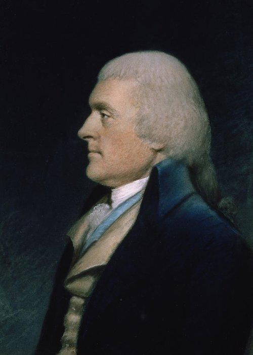 Thomas Greeting Card featuring the pastel Thomas Jefferson by James Sharples