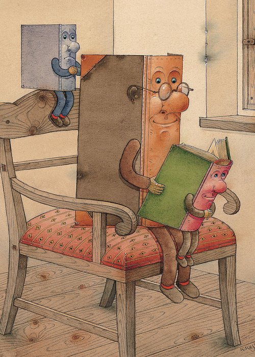Books Greeting Card featuring the painting Three Books by Kestutis Kasparavicius