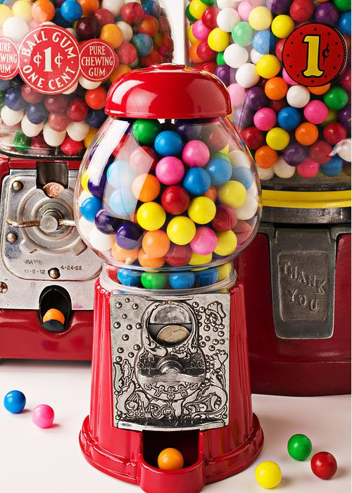 Gum; Bubble Gum; Machine; Vendor; Old Fashion; Antique Greeting Card featuring the photograph Three Bubble Gum Machines by Garry Gay