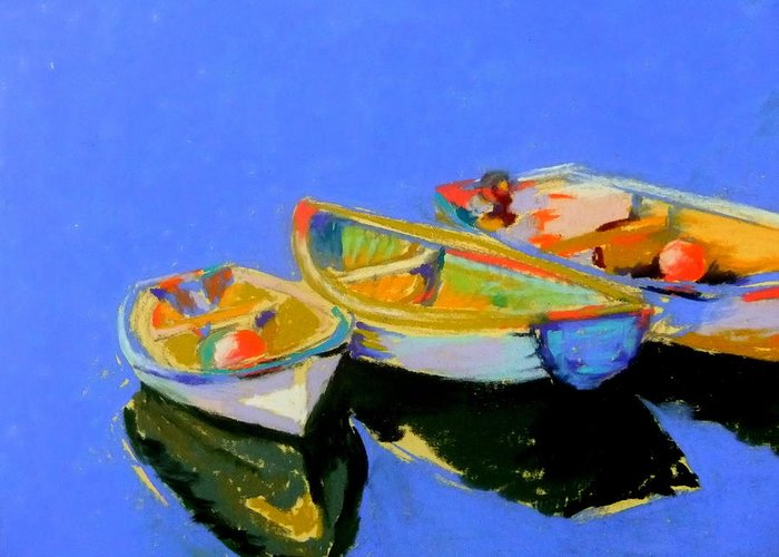 Boats Greeting Card featuring the pastel Three Colourful Boats by Sue Gardner