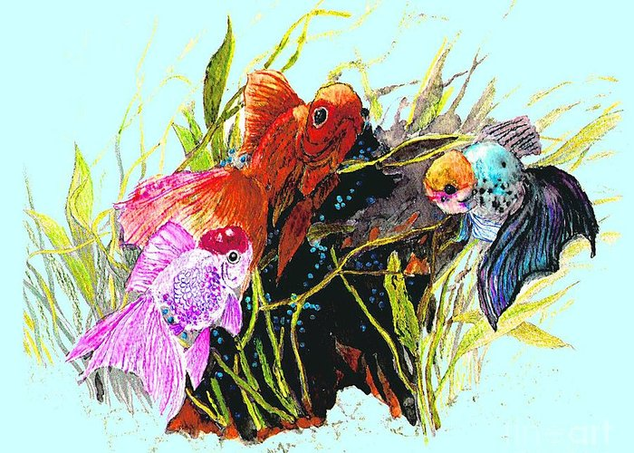 Fish Greeting Card featuring the photograph Three Fish - Chinese Watercolor Painting by Merton Allen